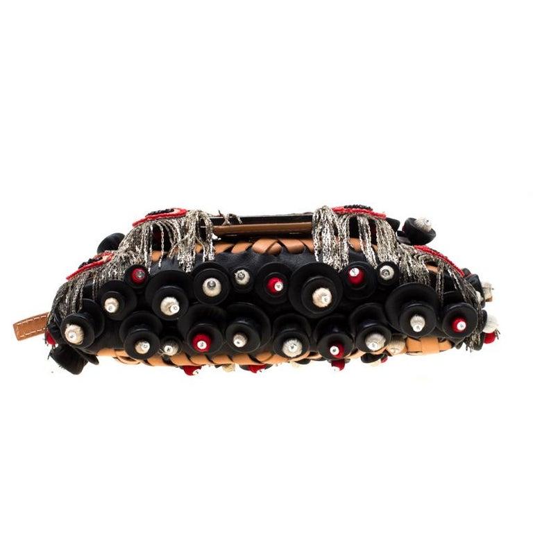 Fendi Black Embellished Micro Baguette Shoulder Bag 1