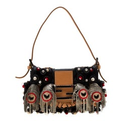 Fendi Black Embellished Micro Baguette Shoulder Bag