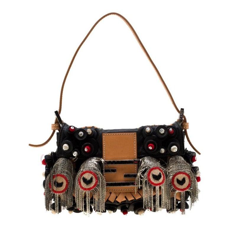Fendi Black Embellished Micro Baguette Shoulder Bag