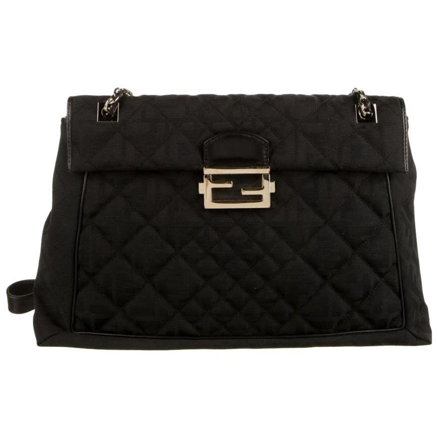 Fendi Black Fabric Logo Zucca Gold Maxi Jumbo Baguette Shoulder Flap Bag