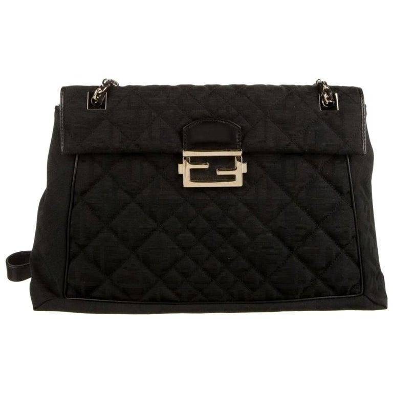 Fendi Black Fabric Logo Zucca Gold Maxi Jumbo Baguette Shoulder Flap Bag For Sale