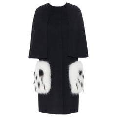 FENDI black fleece wool white spotted fox fur patch pocket cocoon coat IT36 XS
