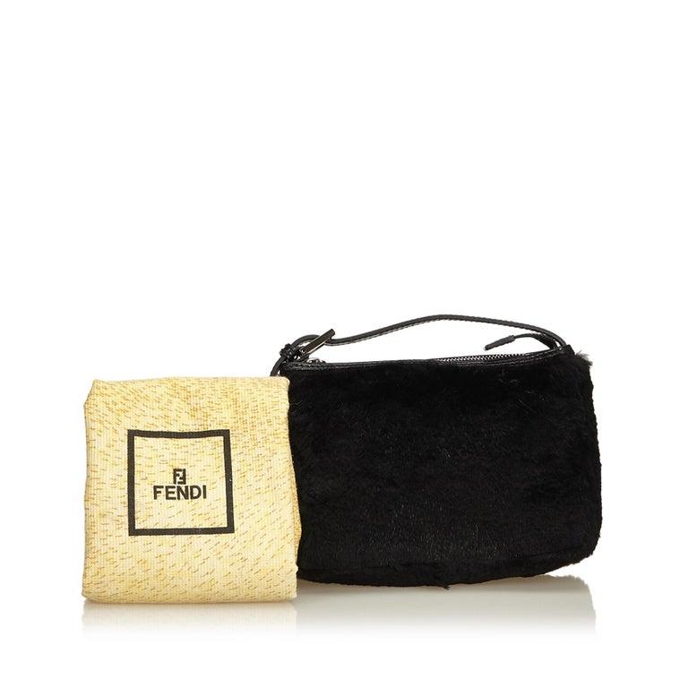 Fendi Black Fur Handbag For Sale 6