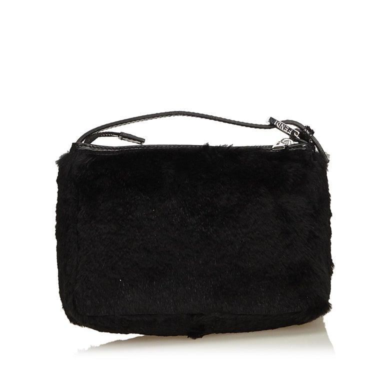Fendi Black Fur Handbag In Good Condition For Sale In Orlando, FL