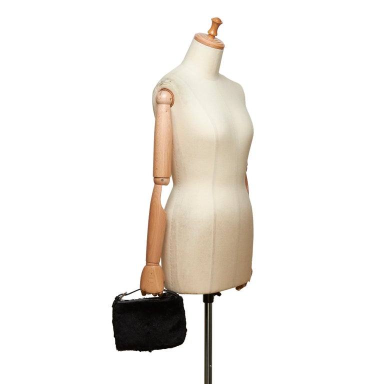 Fendi Black Fur Handbag For Sale 5
