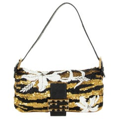 FENDI black & gold BEADED SEQUINS MINI BAGUETTE Shoulder Bag