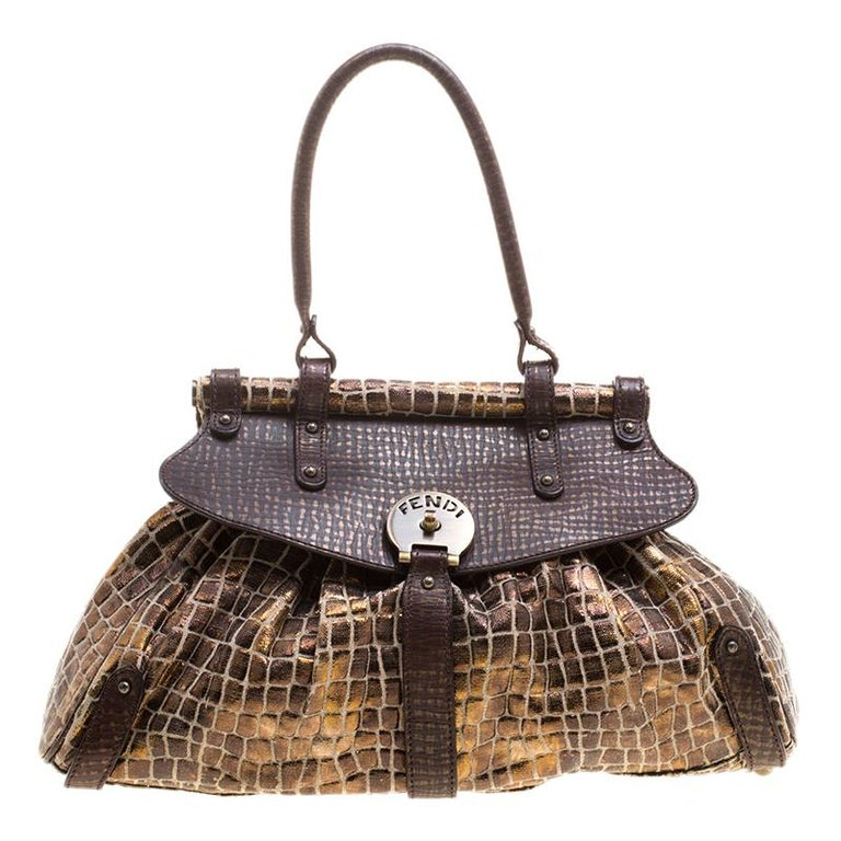 a1bcc08e1e88 Fendi Black Gold Croc Embossed Canvas Medium Magic Bag For Sale at ...