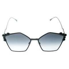 Fendi Black / Grey Gradient FF 0261/S Spike Studded Can Eye Geometric Sunglasses