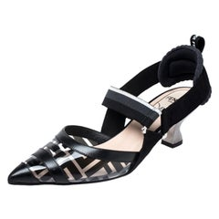 Fendi Black/Grey Leather, PVC And Fabric Colibri Slingback Pumps Size 36