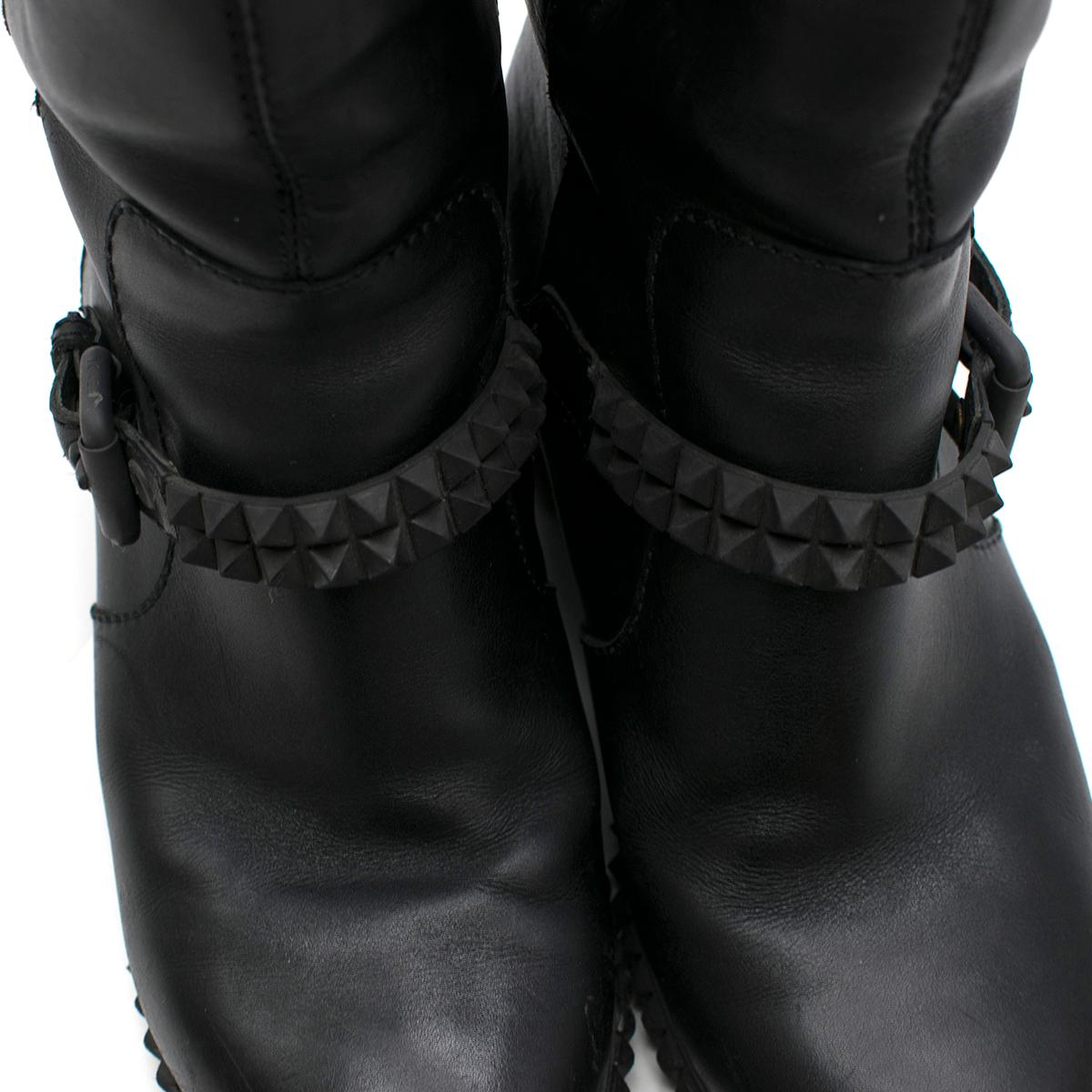 d0351142af3 Fendi Black Joan Studded Moto Boots Size 40