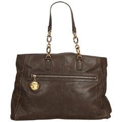 Fendi Black Lame Leather Shoulder Bag