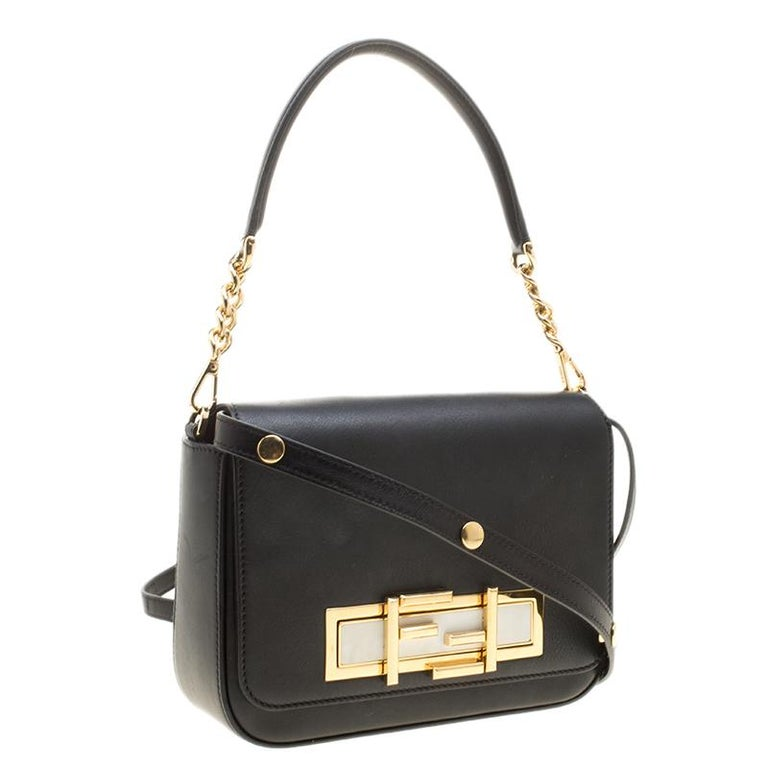 Fendi Black Leather 3Baguette Shoulder Bag In Good Condition In Dubai, Al Qouz 2