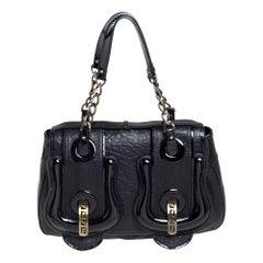 Fendi Black Leather and Patent Leather B Bis Shoulder Bag