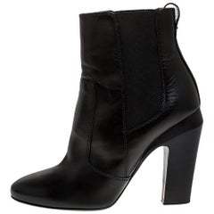 Fendi Black Leather Ankle Boots Size 37