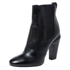 Fendi Black Leather Ankle Boots Size 38.5