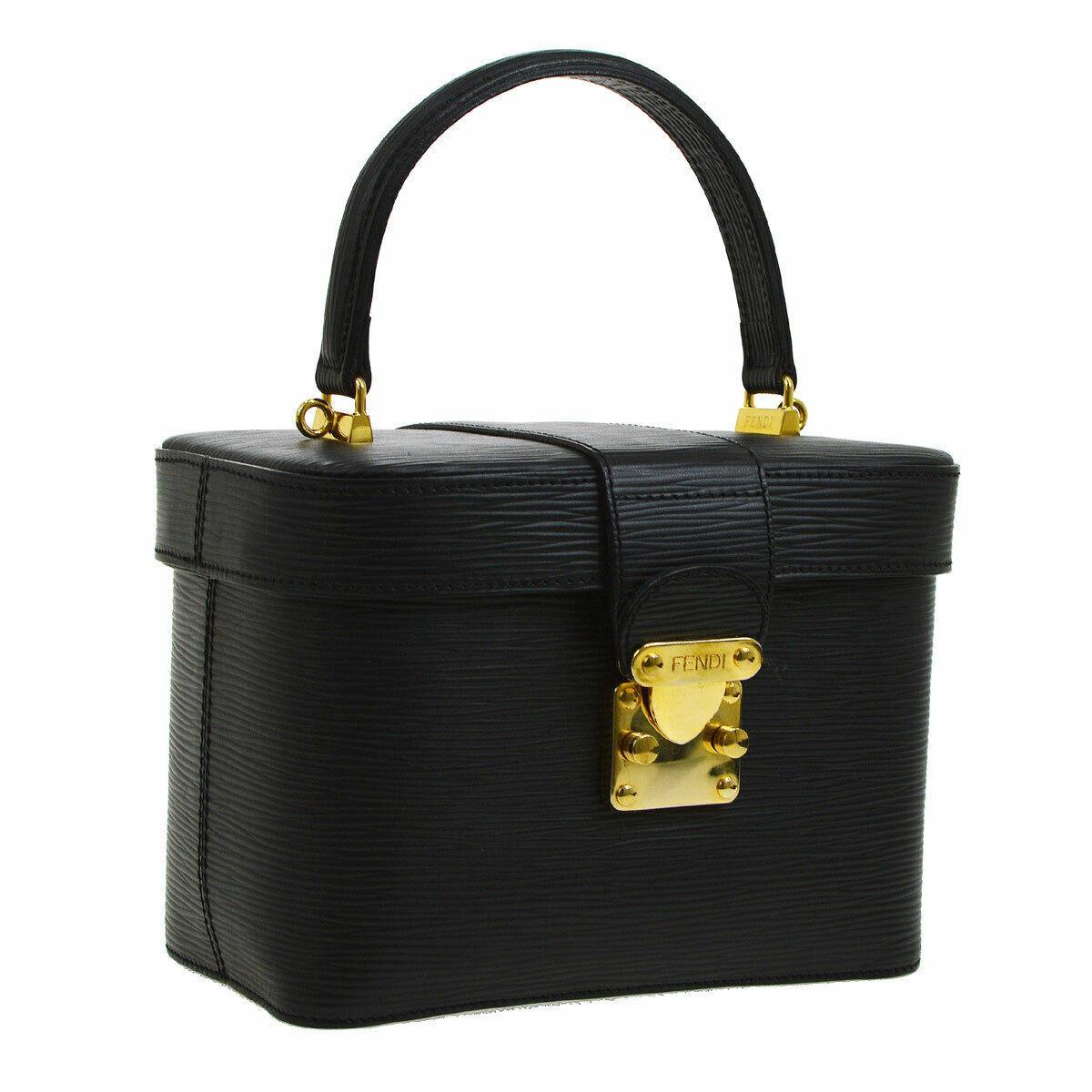 Fendi Black Leather Box Vanity 2 in 1 Evening Top Handle Satchel Shoulder Bag