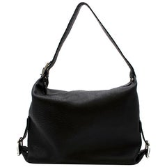 Fendi Black Leather Buckle Detail Tote Bag