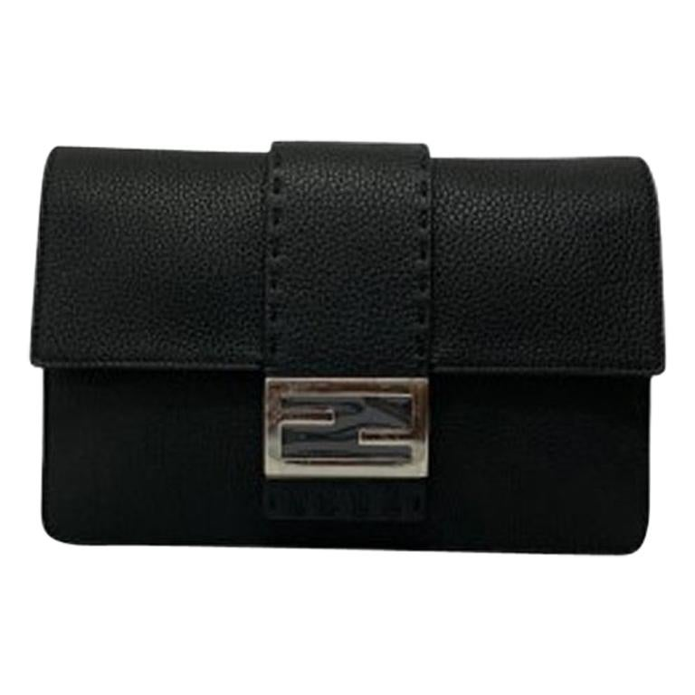 Fendi Black Leather Clutch Bag