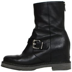 Fendi Black Leather Concealed Wedge Boot sz 38.5