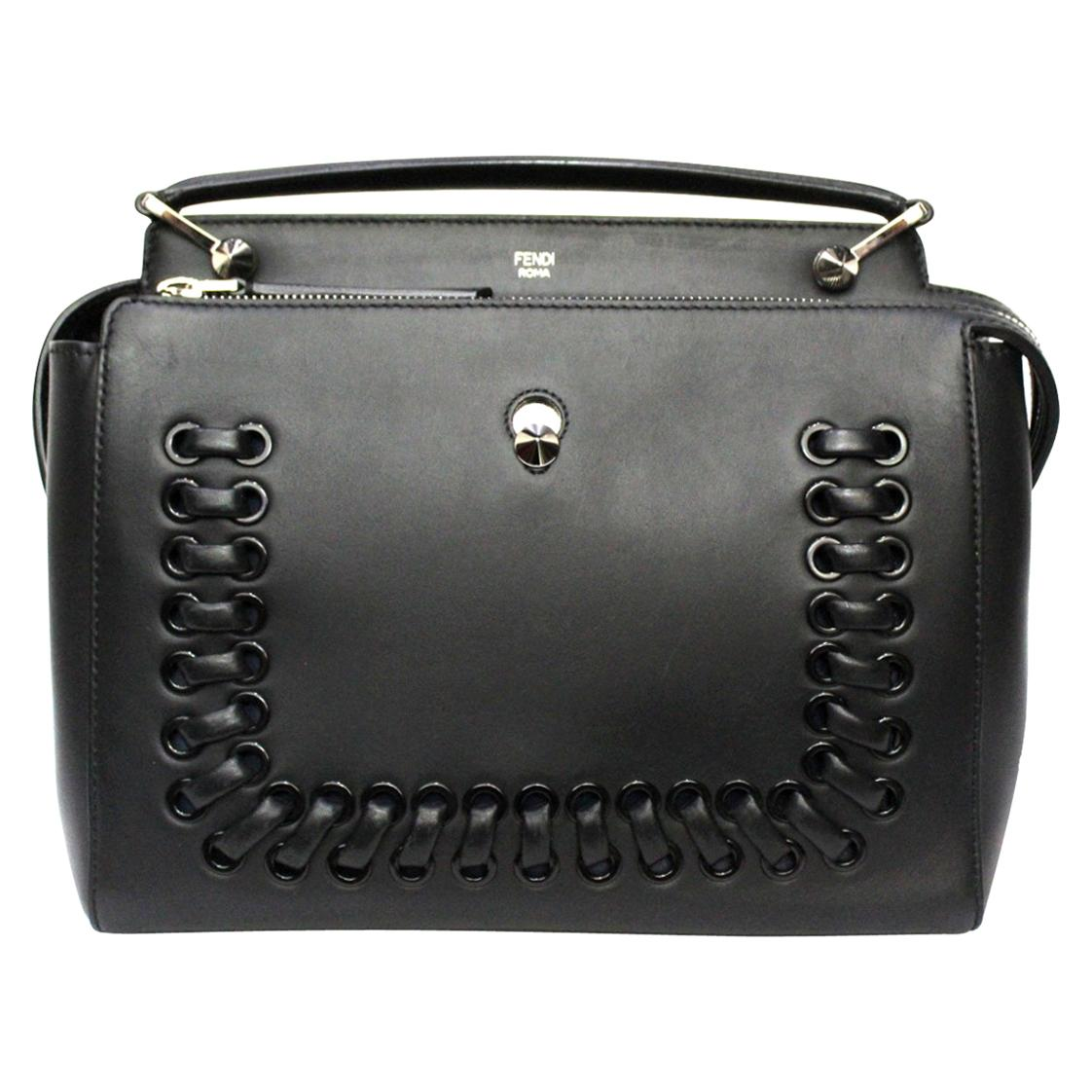 Fendi Black Leather DotCom Bag