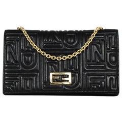 Fendi Black Leather Embossed Monogram Wallet on a Chain Crossbody Bag
