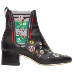 Fendi Black Leather Floral Embroidered Sock Boots