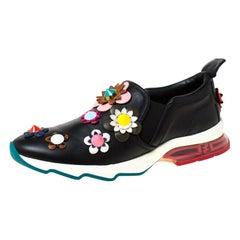 Fendi Black Leather Flowerland Ffast Slip On Sneakers Size 40