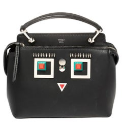 Fendi Black Leather Hypnoteyes Dotcom Click Shoulder Bag