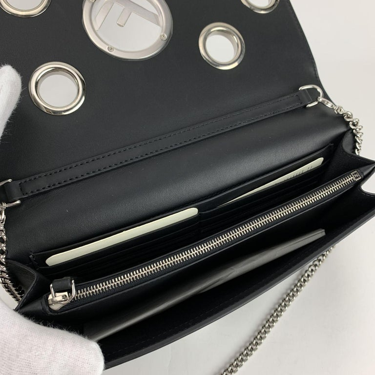 Fendi Black Leather Kan I Wallet On Chain WOC Clutch Bag For Sale 3