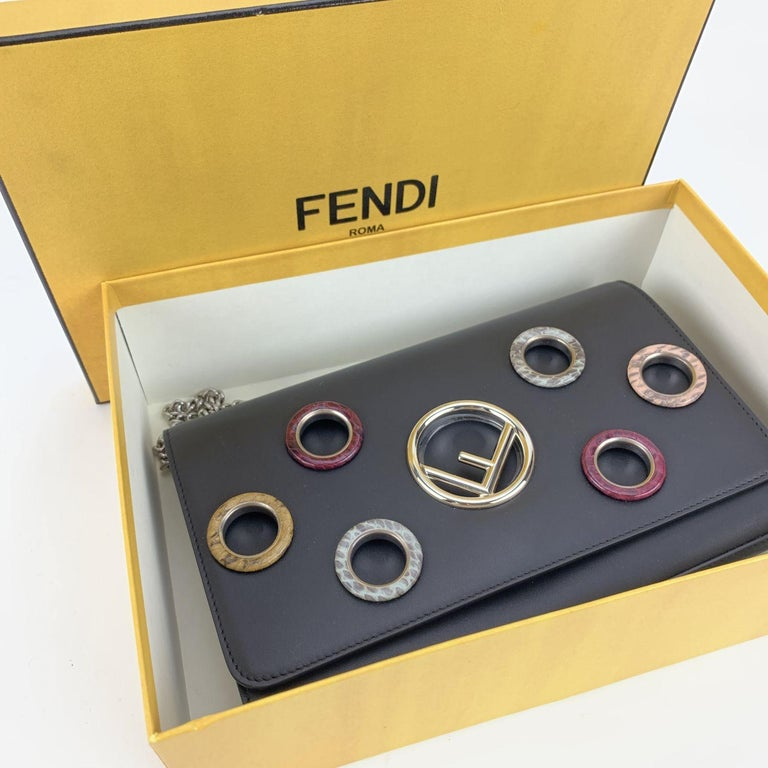 Fendi Black Leather Kan I Wallet On Chain WOC Clutch Bag For Sale 4