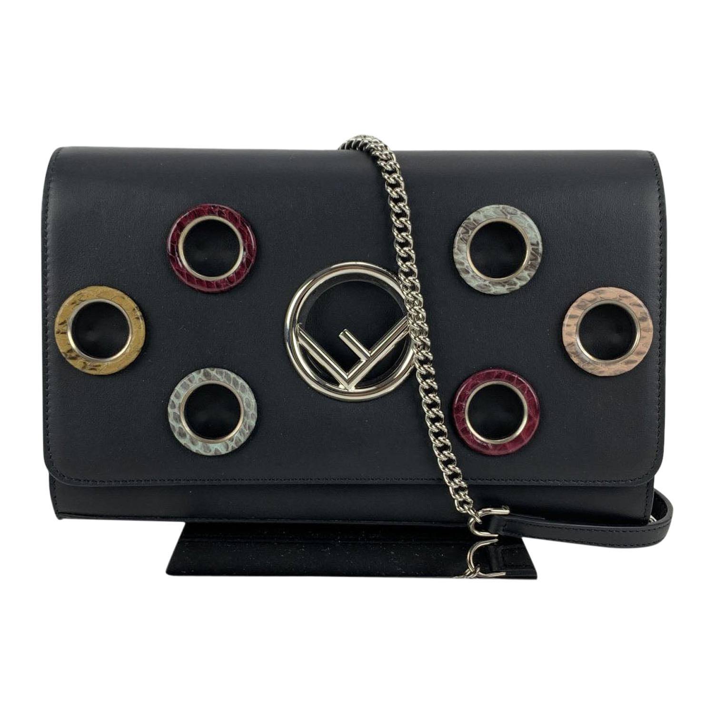 Fendi Black Leather Kan I Wallet On Chain WOC Clutch Bag