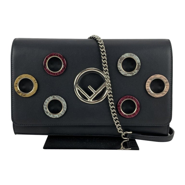Fendi Black Leather Kan I Wallet On Chain WOC Clutch Bag For Sale