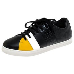 Fendi Black Leather Low Top Sneakers Size 37