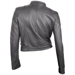 Fendi black leather manderin collar biker jacket
