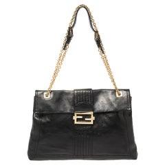 Fendi Black Leather Maxi Baguette Flap Shoulder Bag