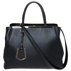 Fendi Black Leather Medium 2jours Tote