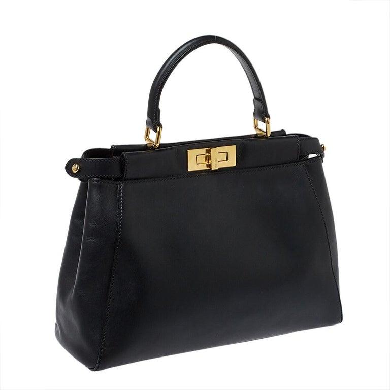 Fendi Black Leather Medium Peekaboo Top Handle Bag 6