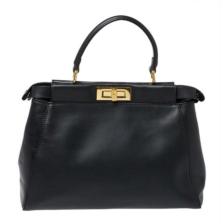 Fendi Black Leather Medium Peekaboo Top Handle Bag 7