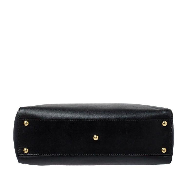 Fendi Black Leather Medium Peekaboo Top Handle Bag 2