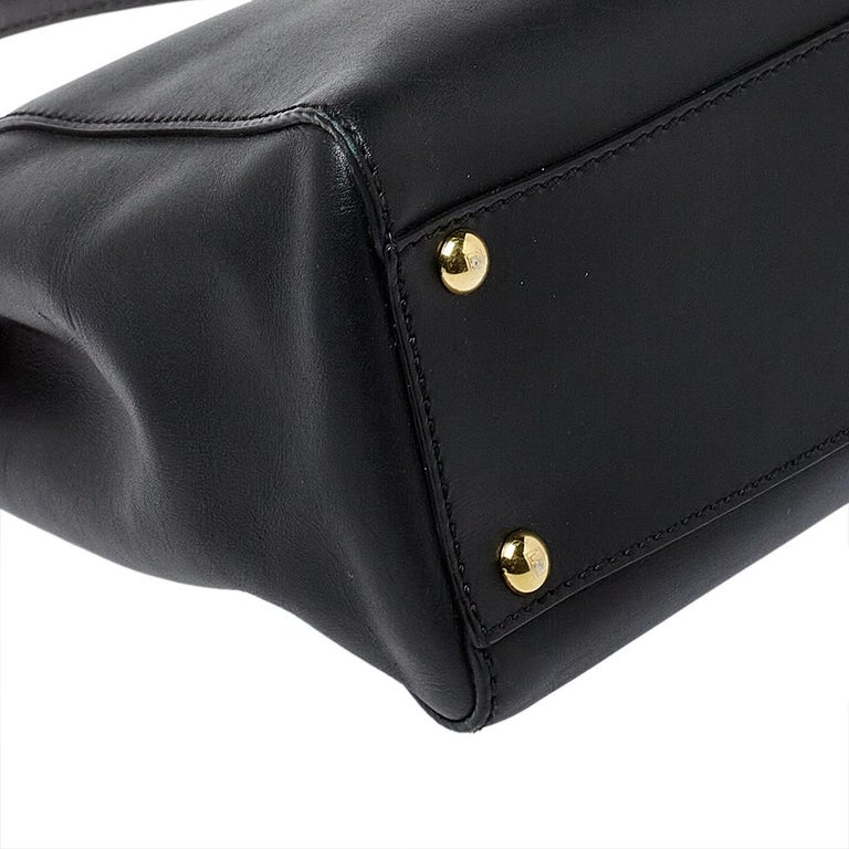Fendi Black Leather Medium Peekaboo Top Handle Bag 3