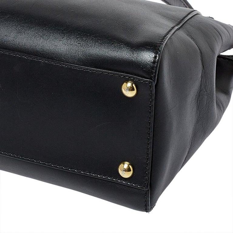 Fendi Black Leather Medium Peekaboo Top Handle Bag 4