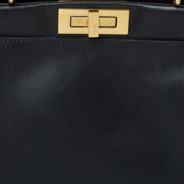 Fendi Black Leather Medium Peekaboo Top Handle Bag 5