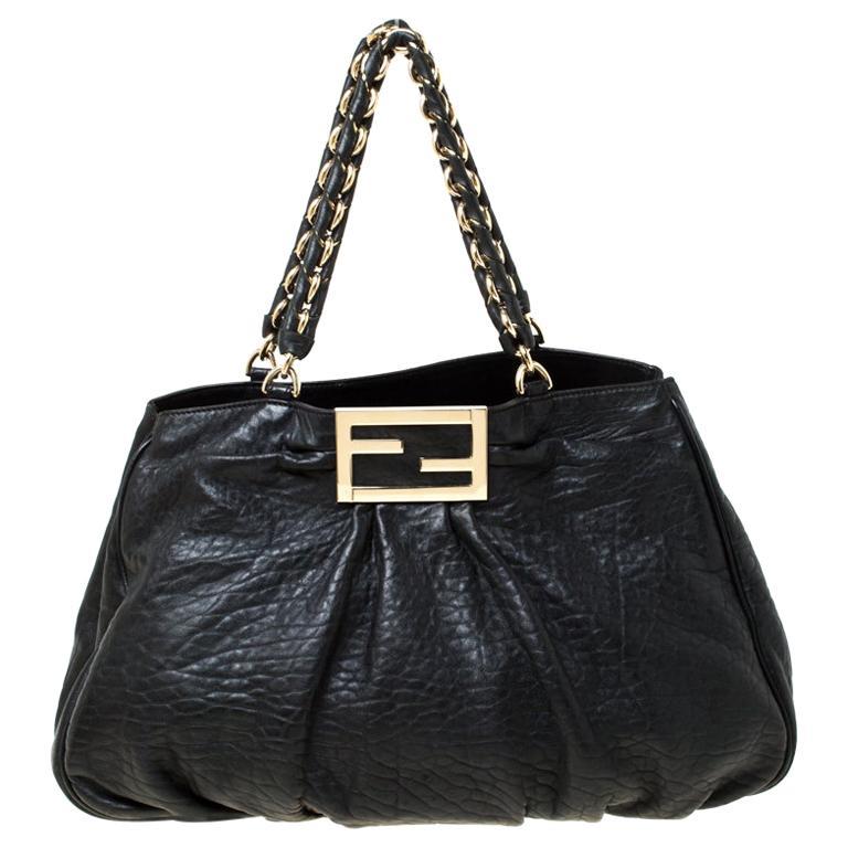 Fendi Black Leather Mia Chain Tote