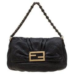 Fendi Black Leather Mia Flap Shoulder Bag