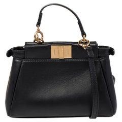 Fendi Black Leather Micro Peekaboo Crossbody Bag