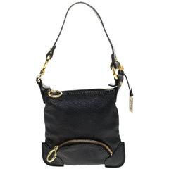 Fendi Black Leather Mini Front Pocket Bag