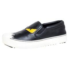 Fendi Black Leather Monster Slip On Sneakers Size 37.5