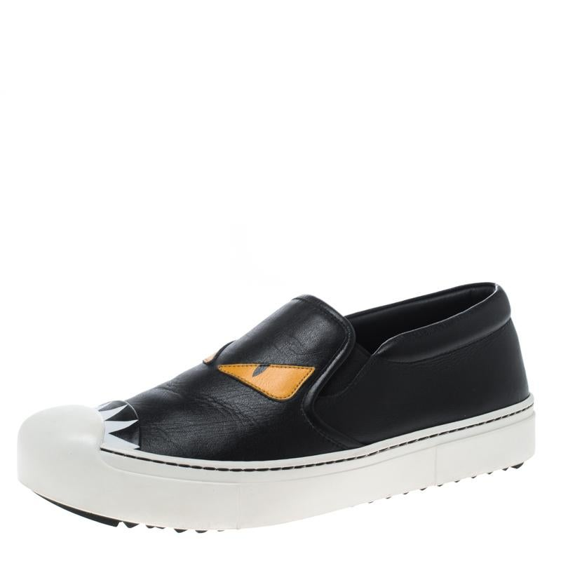 38 Fendi Sneakers Black Slip Monster Leather On Size 0P8OnwkX