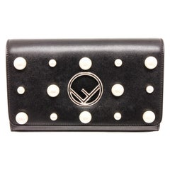 Fendi Black Leather Pearl Flap Clutch