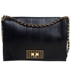 Fendi Black Leather Pequin Large Claudia Shoulder Bag